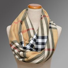 Light Beige Plaid Scarf Ways To Wear A Scarf, How To Wear Scarves, Plaid 05867a31bf15