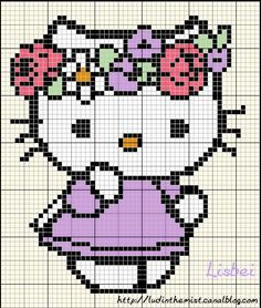 Hello Kitty with Flowers Hama Perler Bead Pattern