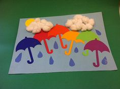A beautiful rainbow for a rainy day. Templates of umbrellas, raindrops and the sun are cut out for the children to glue onto construction paper. Add fluffy cotton balls for clouds. #Greenwich Library #Children's #Crafts