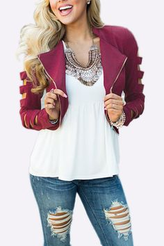 Adding this jacket into your cloest may be your best choice in this moment, It is in fashion style and hollow sleeves design. Just team it up with skinnies and tee to enjoy your time.