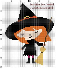 Halloween Witch Free Cross Stitch Pattern on Craftsy - by ComaStitch Fall Cross Stitch, Cross Stitch For Kids, Modern Cross Stitch, Cross Stitch Charts, Cross Stitch Designs, Cross Stitch Patterns, Cross Stitching, Cross Stitch Embroidery, Embroidery Patterns