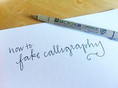 How to fake calligraphy ; DIY calligraphy; DIY cute handwriting; scrapbook font