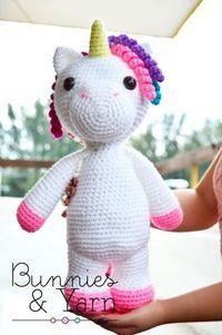 Crochet Patterns Mimi the Unicorn-friendly 40 cm. Crochet Pattern by BunniesandYarn Crochet Diy, Crochet Motifs, Crochet Amigurumi, Crochet For Kids, Amigurumi Patterns, Crochet Dolls, Crochet Patterns, Knitting Patterns, Crochet Unicorn Pattern Free