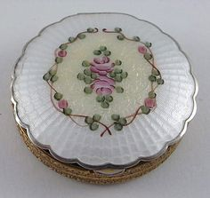 Antique Vintage guilloche enamel Stratton Princess powder compact, in white and yellow with pink roses