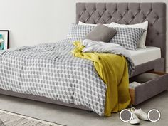 Skye Kingsize Bed with Storage Drawers, Pewter from Made.com. Grey. NEW You spend a third of your life sleeping – spend it well with Skye. This upho..