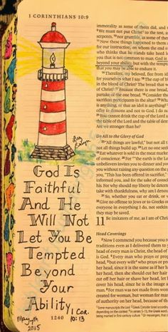 Easy Bible Art Journaling Journey: 1 Corinthians 10:13 (May 7th)