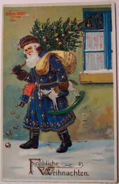 A non-American Christmas postcard with a decidedly unAmerican-looking Santa.  I love the differences in St Nick around the world.