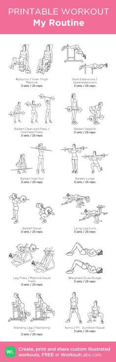 My Routine: my visual workout created at WorkoutLabs.com • Click through to customize and download as a FREE PDF! #customworkout