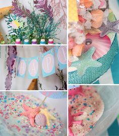 Mermaid Under the Sea party by Wants and Wishes #desserttable #parties #kidsparties #mermaidparty #cupcakes #marshmallowpops