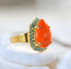 Orange and Turquoise Statement Ring in Gold by RusticGem on Etsy.