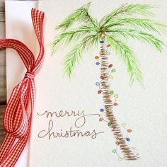 747b2cb722b Palm tree Christmas card  Beach Holiday greeting card  Watercolor palm tree Christmas  lights  Vacation Christmas card
