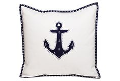 Applique Nautical Pillow, Navy on OneKingsLane.com #sarahjanestudios