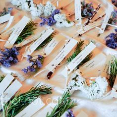 Herb escort cards // Rachael Grace Photography // http://www.theknot.com/weddings/album/a-mountain-wedding-in-boulder-co-84674