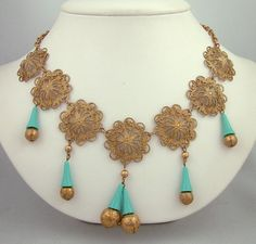 MIRIAM HASKELL VINTAGE TURQUOISE & GOLD TONE CONES DANGLES NECKLACE