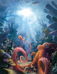 Octopus Mother, Jonah Lobe on ArtStation at https://www.artstation.com/artwork/octopus-mother-f3d50ca9-df47-4fff-9a26-5356f16b8a81