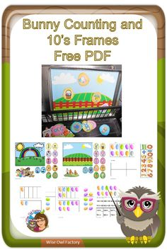 Counting and Tens Frames Math Bunny Theme -- printable pages for bunny and Easter theme math for kindergarten and grade one, free via @wiseowlfactory