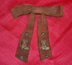 50'S BOW TIE CHILDS WESTERN CLIP ON SUEDE LEATHER - VINTAGE ESTATE ~RARE BOOTS