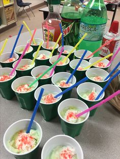 My tailored recipe for 20 kids to enjoy frobscottle from Roald Dahl's The BFG! •rainbow sherbet •fresca •mt dew •simply raspberry lemonade •spray whip cream •poprocks •clear solo cups are best to see colors and bubbles •fun colored straws I like reading the page from the book where BFG is first describing experiencing frobscottle to Sophie.