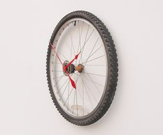 Recycled bike wheel and tire clock #recycled #clock #home #decor