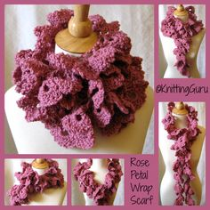 Crochet Rose Petal Scarf Cowl Wrap by KnittingGuru. There are many ways to wear this extra long wrap.