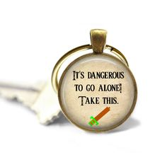 It's Dangerous to Go Alone, Take This - Zelda Quote Pendant Necklace or Key Chain - Choice of 4 Colors - Video Game, Sword, Link by Analiese on Etsy