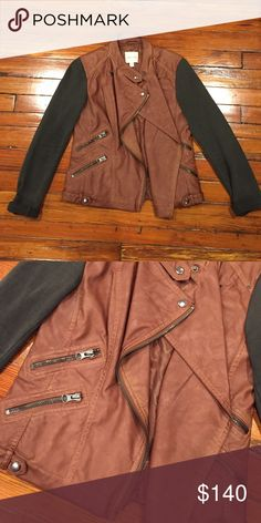 Urban Outfitters Bomber Jacket *never worn* Perfect bomber jacket for Fall...featured sweatshirt sleeves and the body is real leather with silver buttons and zipper details Urban Outfitters Jackets & Coats