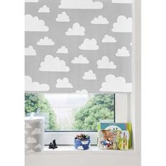 the modern baby farg form moln clouds blackout roller blind greywhite