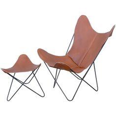 Hardoy Set, aka Butterfly Chair and Ottoman, by Jorge Ferrari-Hardoy for Knoll