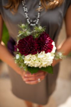burgundy and white bouquet.