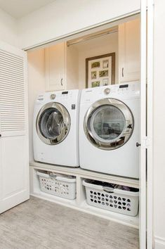 A small laundry room can be a challenge to keep laundry room cabinets functional, yet since this laundry room organization space is constantly in use, we have some inspiring design laundry room ideas. Laundry Room Layouts, Laundry Room Remodel, Laundry Room Cabinets, Small Laundry Rooms, Laundry Room Organization, Laundry Room Design, Basement Laundry, Diy Cabinets, Closet Remodel