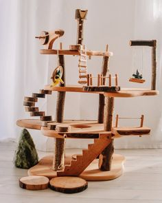 Magic Wood Large Treehouse from Oskar's Wooden Ark Wooden Tree House, Wood Tree, Retractable Stairs, Beautiful Tree Houses, Toy Rocket, Wooden Rainbow, Stacking Toys, Small World Play, Bedroom Furniture Sets