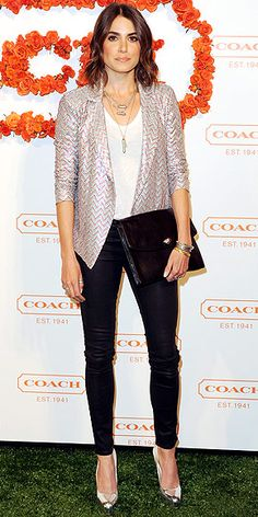 shimmery draped Ella Moss blazer and high-shine silver pumps, worn over a basic tee and skinnies