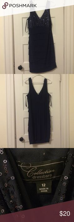 Navy Blue Dress with Sequence It's all navy blue. Top has a modest amount of sequence and the bottom is simple. Dress Barn Dresses Midi