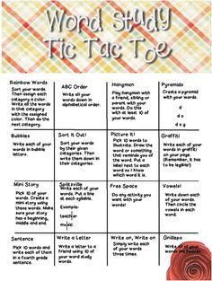 Fourth Grade Lemonade: Word Study / Spelling Tic Tac Toe - Freebie to 3!
