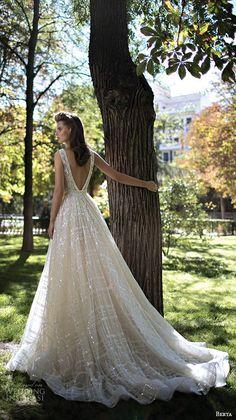 berta fall 2016 bridal gorgeous pretty a  line wedding ball gown dress sleeveless deep v plunging neckline romantic