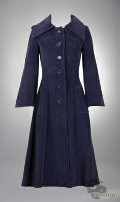 Vintage 60´s Corduroy Blue Coat Size XS-S - Bichovintage - Vintage & Retro & Recycled - Clothing and Accesories - Online Store