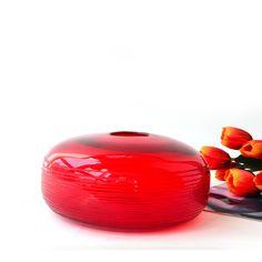 ヨーロッパ手作り アート ガラス花瓶レッド オブラート水耕花挿入デバイス テーブル テーブル 。(China (Mainland))