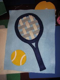 Tennis racquet quiet book page, weaving