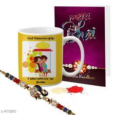 Rakhi Fancy Mug & Rakhi Combo Material: Mug: Ceramic                Rakhi: Beads/ Thread Size: Mug- 325 ml Description: It Has 1 Piece Of Mug 1 Piece Of Beautiful Greeting Card & 1 Piece Of Rakhi Country of Origin: India Sizes Available: Un Stitched, Free Size, Semi Stitched   Catalog Rating: ★4.1 (444)  Catalog Name: Rakhi Fest Special Greeting Cards & Mugs Combo Vol 2 CatalogID_44463 C77-SC1266 Code: 452-411280-525