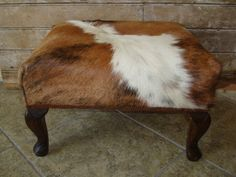 Vintage Cowhide Stool or Bench RARE