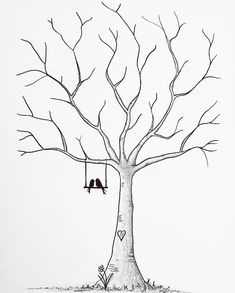 ▷ 1001 + examples, tips and ideas for creating a wedding imprint tree - Pinehouse Pencil Art Drawings, Art Drawings Sketches, Easy Drawings, Tree Drawings, Love Drawings Couple, Couple Art, Tree Templates, Tree Sketches, Black Tree