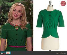 Liv's green button front top on Liv and Maddie.  Outfit Details: http://wornontv.net/47845/ #LivandMaddie