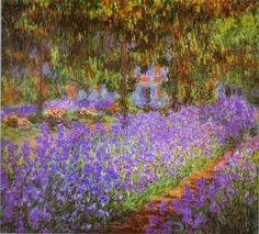 "Monet: ""The Irises"" (Musée d'Orsay, Paris, France) Questions to ask children: What do you see in the background? What colors does Monet use in this painting?"