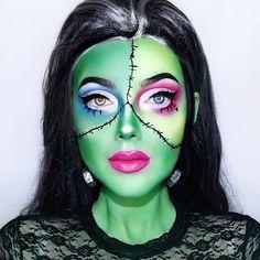 Creative Frankenstein Makeup Idea for Women Wolf Makeup, Demon Makeup, Creepy Makeup, Fun Makeup, Zombie Makeup, Girls Makeup, Makeup Ideas, Most Popular Halloween Costumes, Unique Halloween Makeup