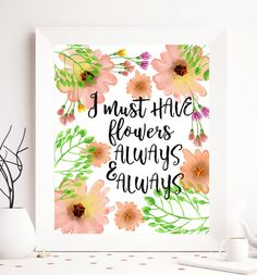 $2.5 Floral printable typography quote tyography by SoulPrintables