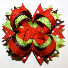 Christmas Holiday Polka Dots Red Lime Green Brown Stacked Hair Bow