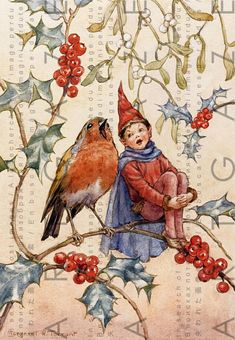 Art And Illustration, Christmas Illustration, Vintage Illustrations, Christmas Duets, Christmas Art, Vintage Christmas, Vintage Winter, Elfen Fantasy, Fantasy Art