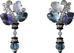 CARTIER -Earrings with engraved stones in 18k white Gold set with Tanzanites, Moonstones, Aquamarines, Onyx and brilliant-cut Diamonds. Cartier Magicien High Jewelry Collection 2016