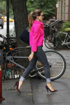 SJP in shocking pink and burgundy