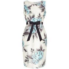 Precis Petite Rose Print Dress, Cream/Aqua ($72) ❤ liked on Polyvore featuring dresses, petite, white floral dress, long-sleeve mini dress, floral midi dress, white evening dresses and white midi dress